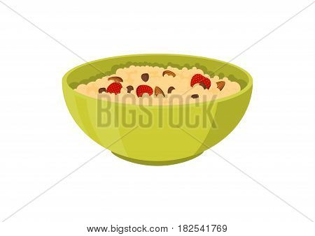 Cereal porridge breakfast with strawberry and hazelnut. Flat vector illustration isolated on white