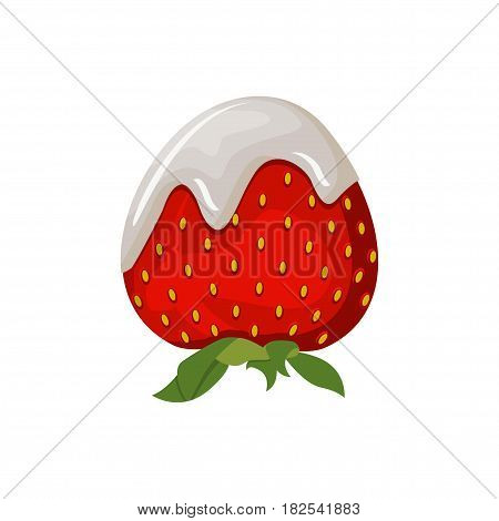 Yogurt or dairy cream with fresh strawberry