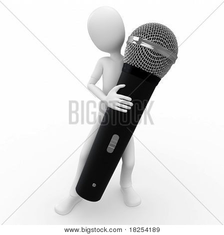 3D Man With Wireless Microphone