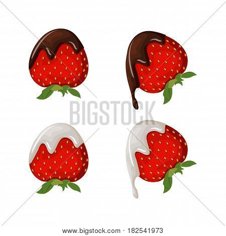 Set of tasty strawberry illustration with chocolate, yogurt and dairy cream