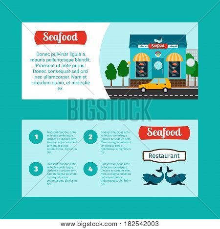 Seafood house horizontal flyers with shop building and landscape, vector illustration