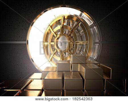 open vault and golden ingot 3d rendering image