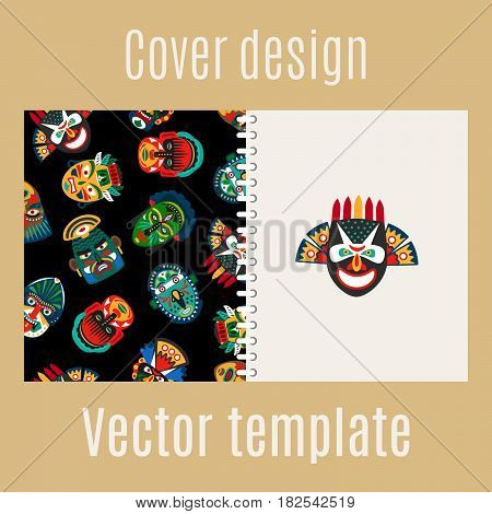 Cover design for print with tribal mask pattern, vector illustration