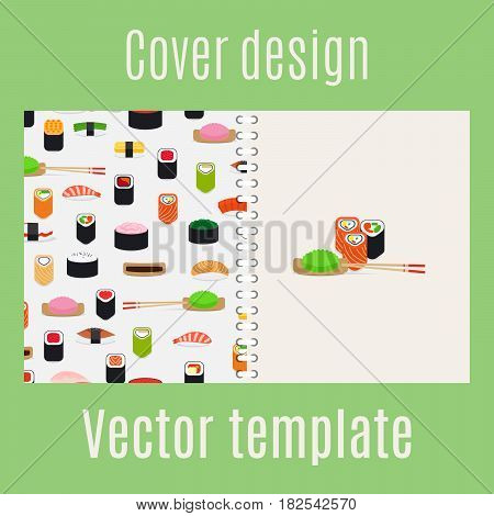 Cover design for print with sushi pattern, vector illustration