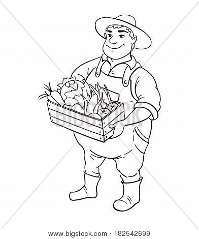 Farmer lineart vector character. Cartoon cute fat man in hat holding box of vegetables in hands. Isolated black and white worker illustration. Great for logo, label, farm market poster