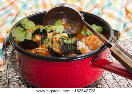 mussels with boiled cod and coriander in a tomato sauce