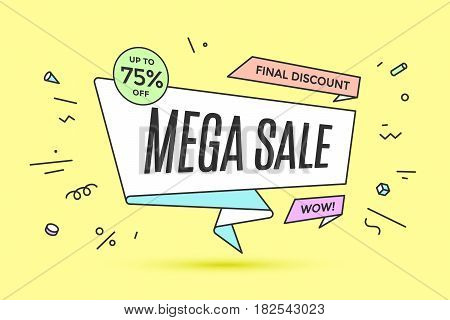 Ribbon banner with text Mega Sale for discount and promotion. Colorful realistic sticker, banner for sale, shopping, market, business theme. Design elements for flyer, poster. Vector Illustration
