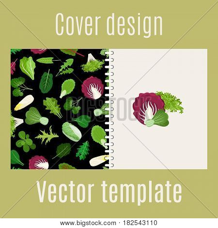 Cover design for print with salad green vegetables lettuce leaves and herbs pattern, vector illustration