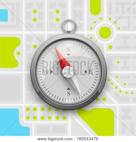 Navigation compass on the city map . Vector illustration