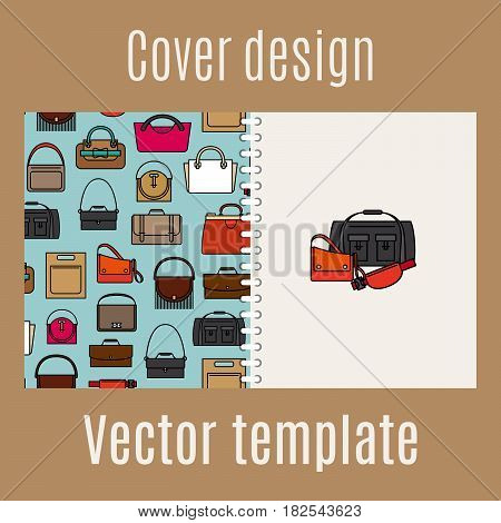 Cover design for print with diferent style bags pattern, vector illustration