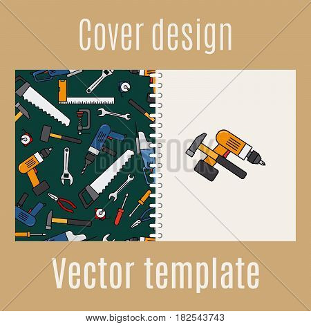 Cover design for print with constraction tools pattern, vector illustration