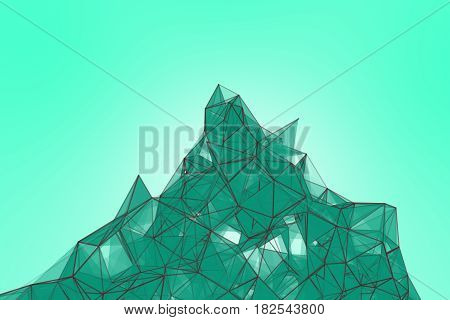 Futuristic technology turquoise background. Mint plexus triangle futuristic fantasy. 3D rendering.