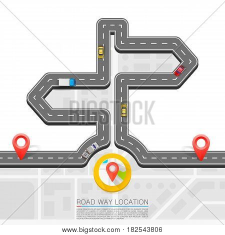 Road direction, Paved path on the road, Direction location road, Road arrow point , Vector background