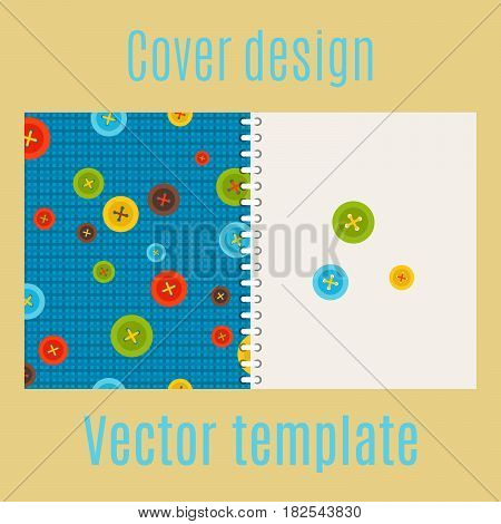 Cover design for print with colorful buttons pattern, vector illustration