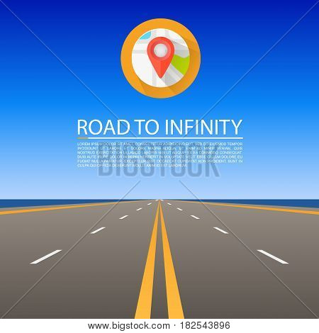 Road to infinity, Road vector highway , Vector illustration, Road sky background.