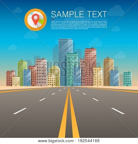 Road in city, Road to infinity, Road vector highway, Vector illustration , Road background.