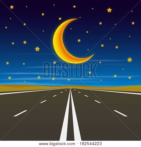 Road to infinity, road to horizon at night, vector illustration , road background.