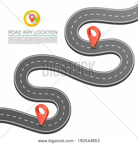 Paved path on the road, Curved road markings , Vector background