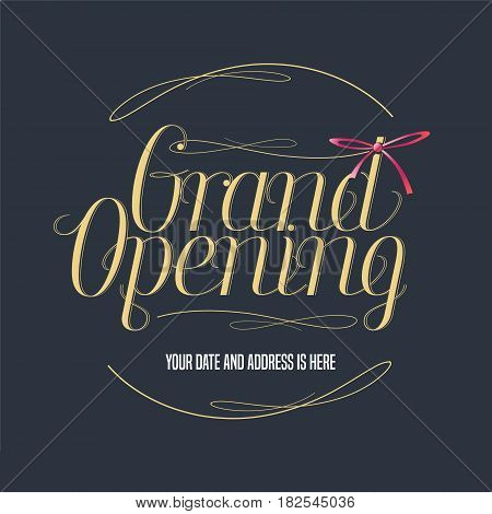 Grand opening vector illustration banner for new store shopping center etc. Template design element with elegant golden color sign for opening event