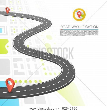 Paved path on the road, Road point location , Vector background