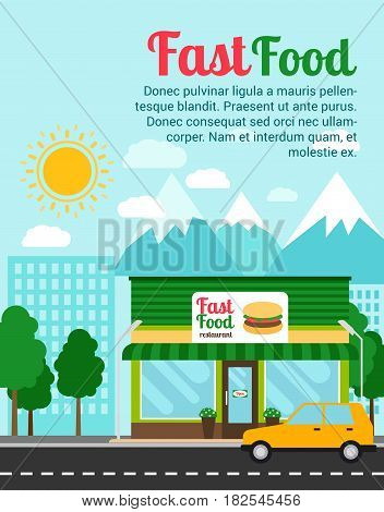 Fast food restaurant advertising banner with shop building and landscape. Vector illustration