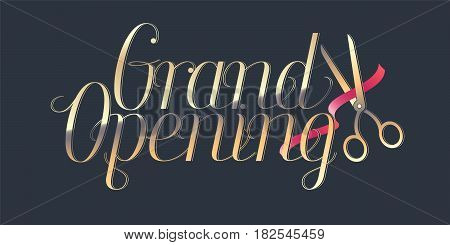 Grand opening vector illustration. Template banner with red ribbon cutting for opening event