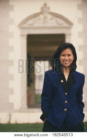 Businesswoman standing outdoors