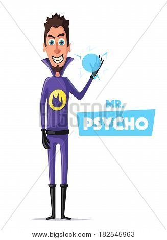 Evil superhero. Mr. Psycho. Cartoon vector illustration. Person in uniform. For banners and posters. Bad man. Hero character