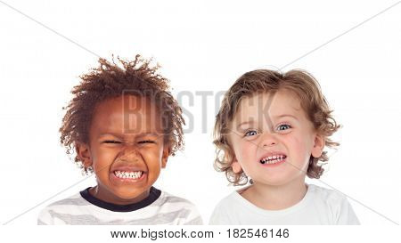 Funny children making faces with disgust isolated on a white background