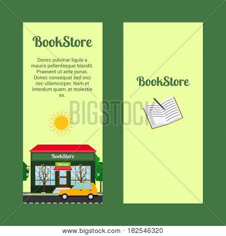 Bookstore vertical flyers with shop building and landscape. Vector illustration