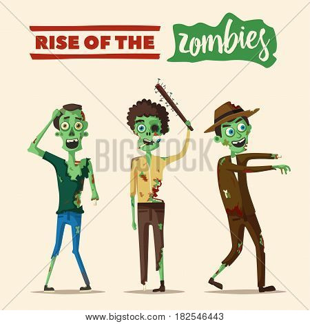 Zombie character. Cartoon vector illustration. Halloween party. Ugly monsters. Green evil dead men. Stylized person. Banner and poster