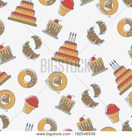 Donut and Croissant, cake seamless pattern on white background. Sweets background design. Bakery cafe restaurant design elements. Happy birthday or wedding party celebration food pattern