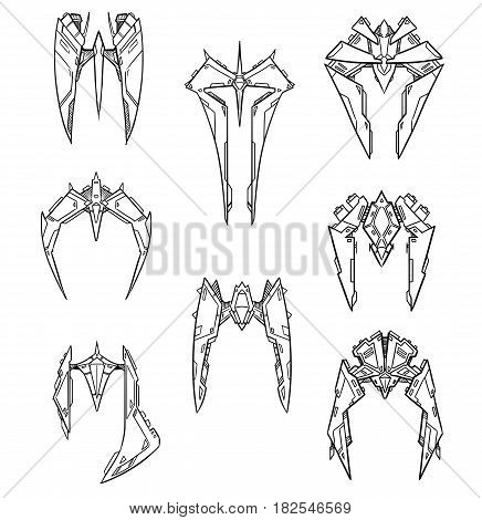 Set of eight hand drawn cartoon vector alien space ship shuttle designs with sharp robotic look