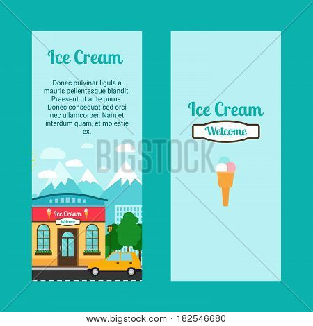 Ice cream vertical flyers with shop building and landscape. Vector illustration