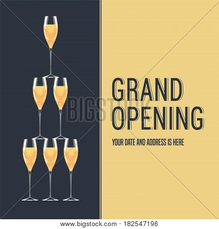 Grand opening vector banner. Tower of glasses with champagne design concept for backdrop for opening ceremony