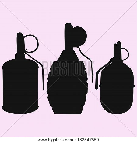set of the grenade vector silhouette isolated