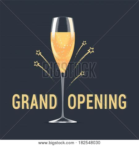 Grand opening vector background. Glass of champagne and fireworks design element for poster or banner for opening ceremony