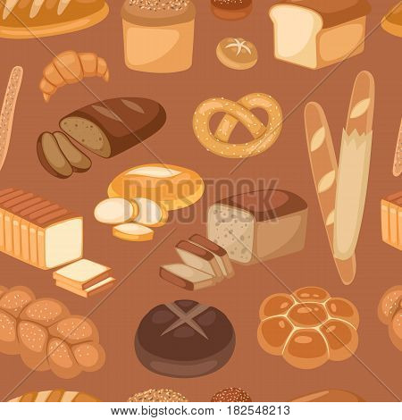 Baton bread seamless pattern cartoon vector illustration of graphic loaf snack wheat bakery design. Creative decor nutrition toast wallpaper kitchen cooking decoration.