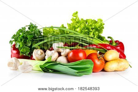 Fresh healthy raw vegetables isolated on white background
