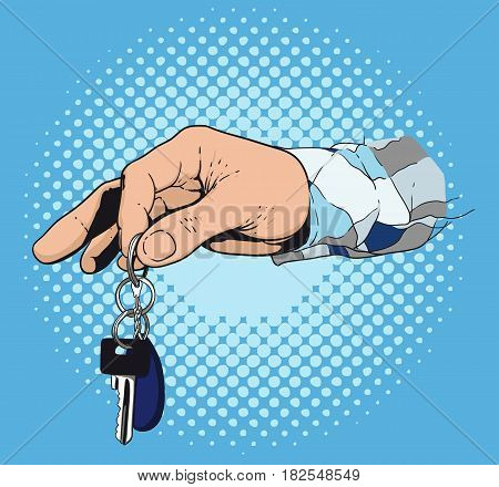 A man s hand giving a key to an apartment or car. Made in retro style