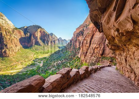 Angels Landing Hiking Trail In Zion National Park, Utah, Usa
