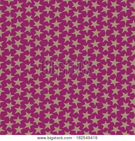 Festive purple background with stars. Monotone seamless texture. Holiday seamless pattern retro. Irregular odd geometric texture. Digital print for wrapping paper fabric apparel web design.