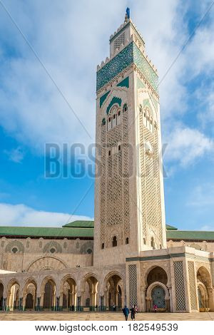 Minaret of Mosque Hasan II. in Casablanca Morocco