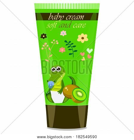 High quality original trendy vector kiwi Baby cream tube with kids design and crocodile or alligator on floral background illustration