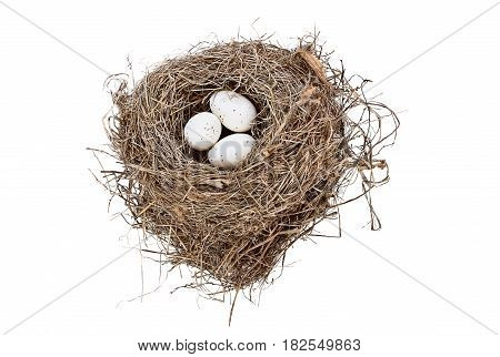 Isolated bird nest with spotted eggs over white background. Image shot from above with copy space.