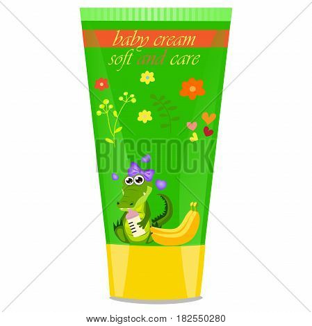 High quality original trendy vector banana Baby cream tube with kids design and crocodile or alligator on floral background illustration