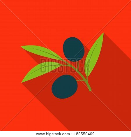 Branch of olives icon in flate design isolated on white background. Spain country symbol stock vector illustration.