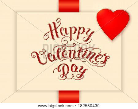 Happy Valentine's day vector card. With elegant text and heart. Elegant and tender gift or invitation card.