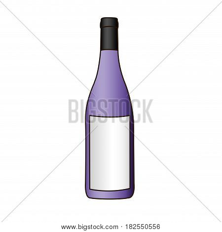 colorful silhouette with bottle of purple wine and delineated vector illustration