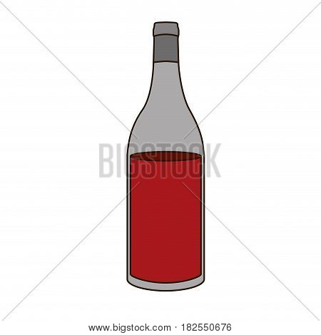 colorful silhouette with bottle of red wine without label and delineated vector illustration